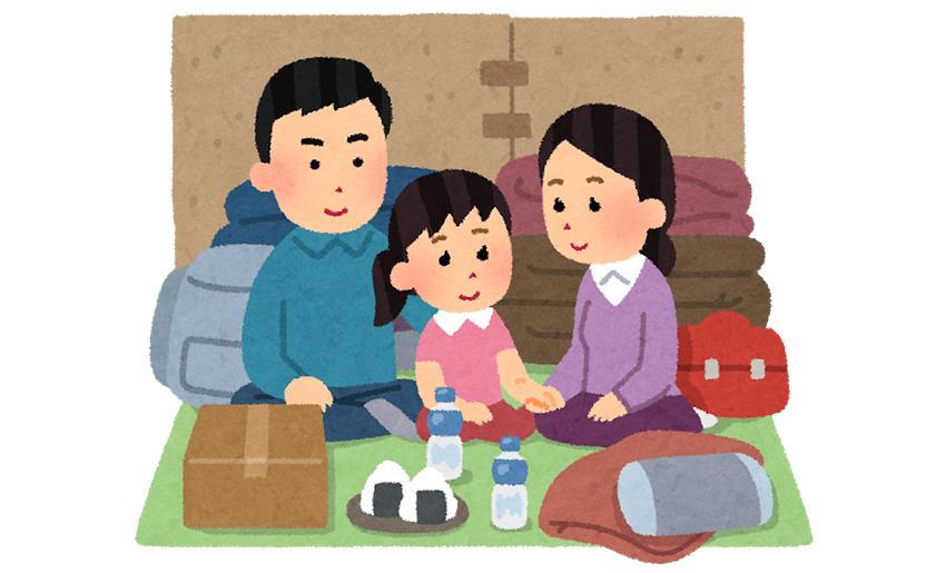 避難所生活をする家族